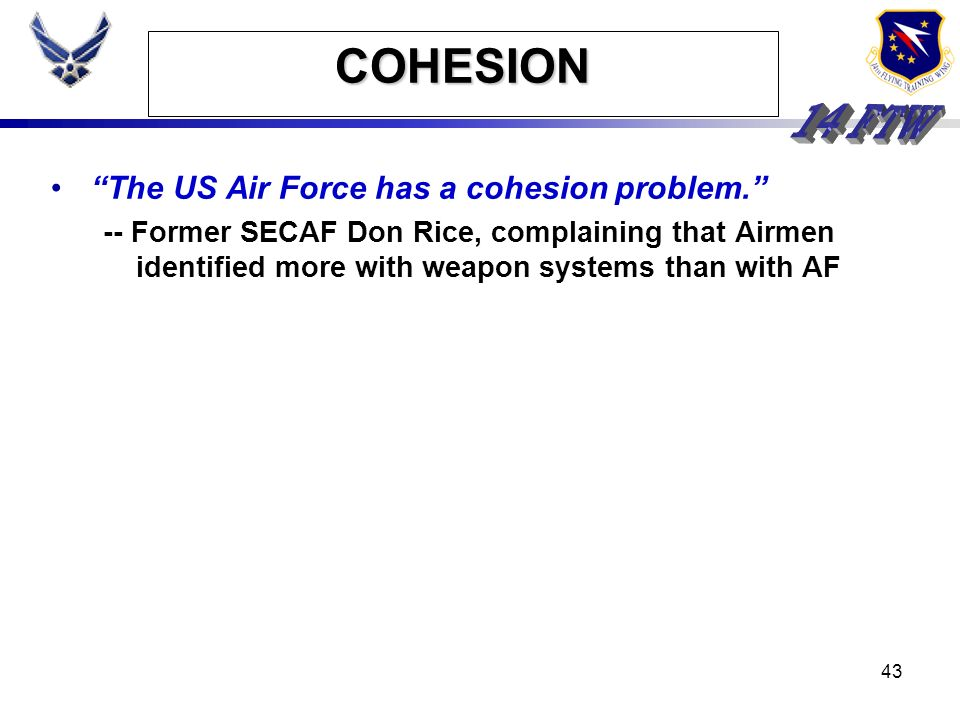 COHESION The US Air Force has a cohesion problem.
