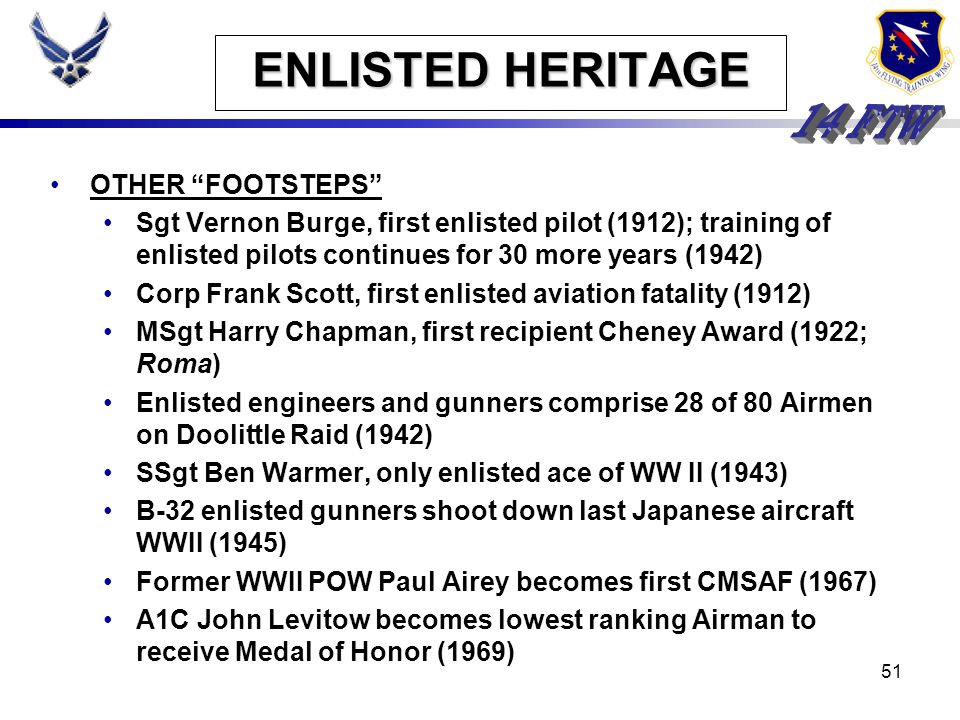 ENLISTED HERITAGE OTHER FOOTSTEPS