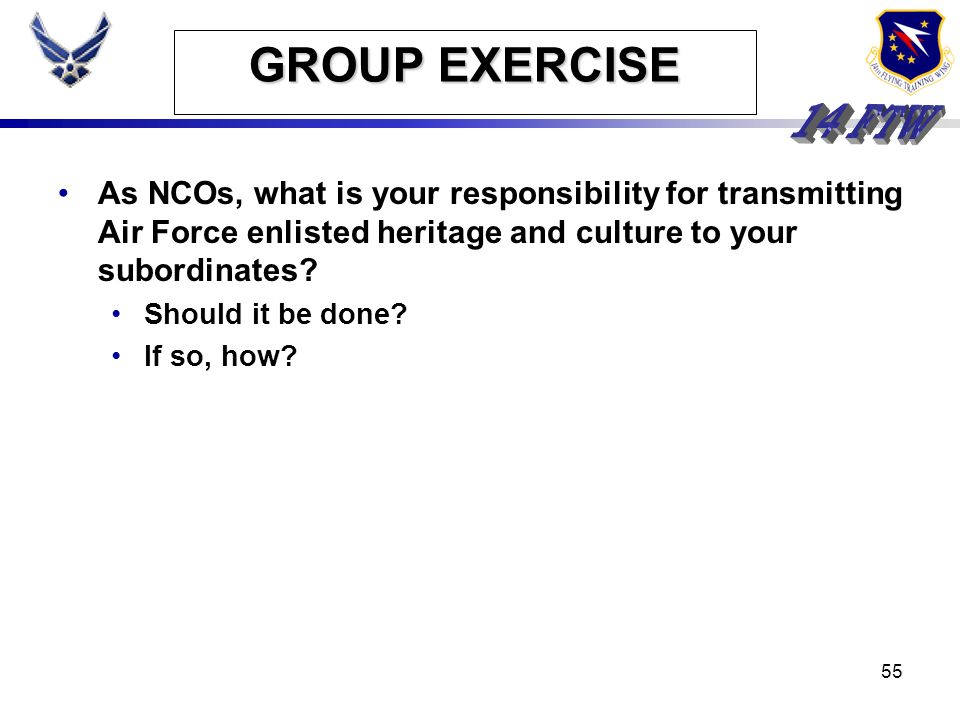 GROUP EXERCISE As NCOs, what is your responsibility for transmitting Air Force enlisted heritage and culture to your subordinates