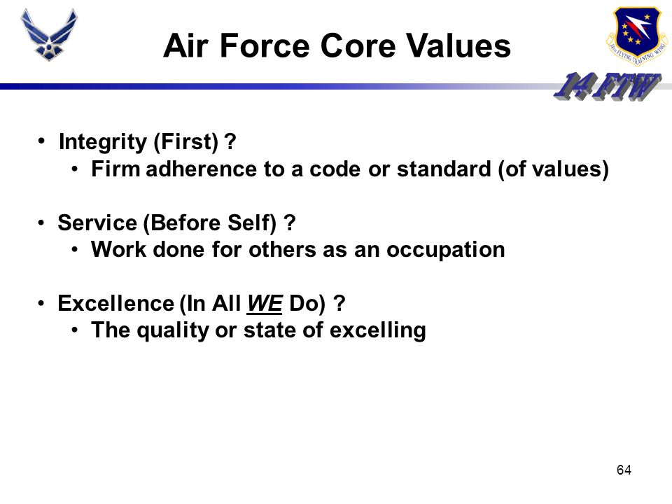 Air Force Core Values Integrity (First)