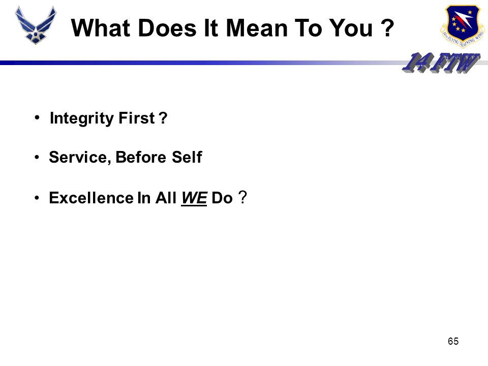 What Does It Mean To You Integrity First Service, Before Self