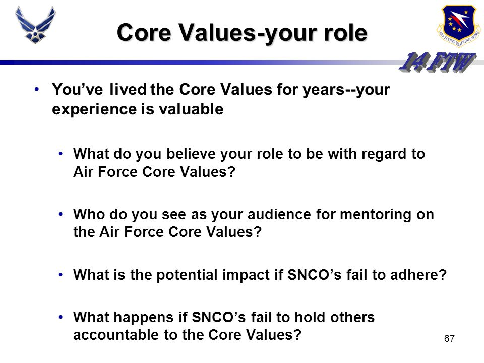 Core Values-your roleYou've lived the Core Values for years--your experience is valuable.