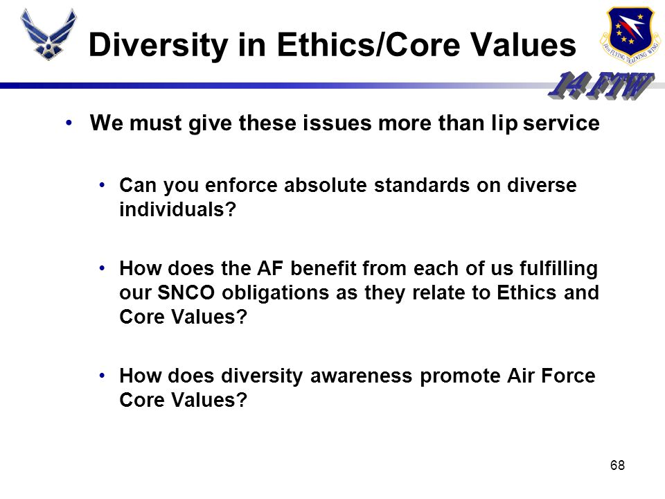 Diversity in Ethics/Core Values
