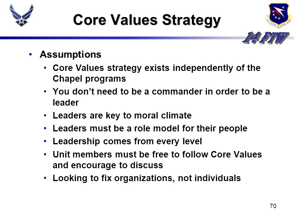 Core Values Strategy Assumptions