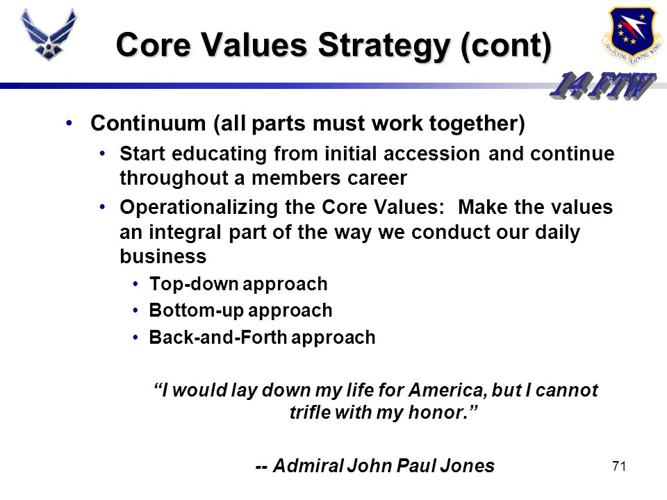 Core Values Strategy (cont)