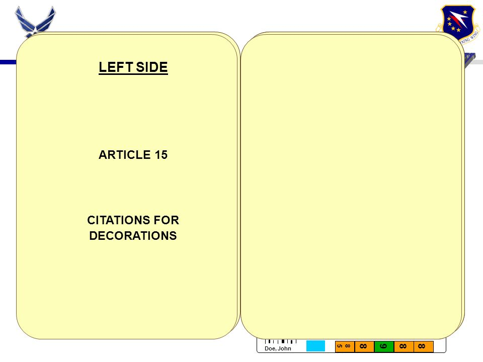 LEFT SIDE ARTICLE 15 CITATIONS FOR DECORATIONS