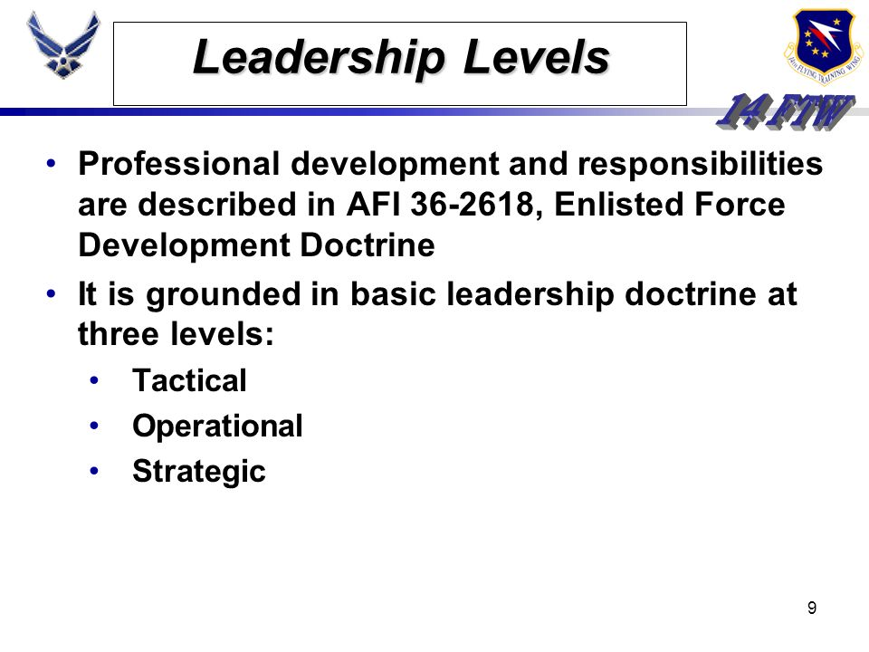 Leadership LevelsProfessional development and responsibilities are described in AFI 36-2618, Enlisted Force Development Doctrine.