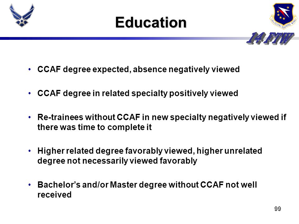 Education CCAF degree expected, absence negatively viewed