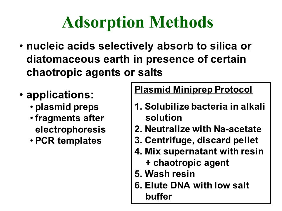 Adsorption Methods nucleic acids selectively absorb to silica or diatomaceous earth in presence of certain chaotropic agents or salts.