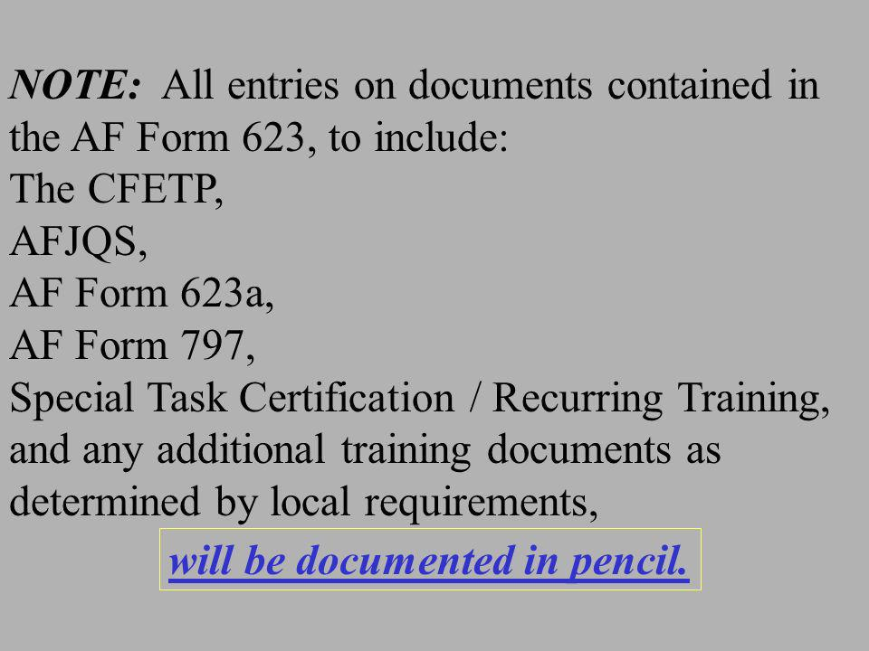 NOTE: All entries on documents contained in the AF Form 623, to include: