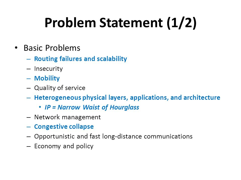 Problem Statement (1/2) Basic Problems