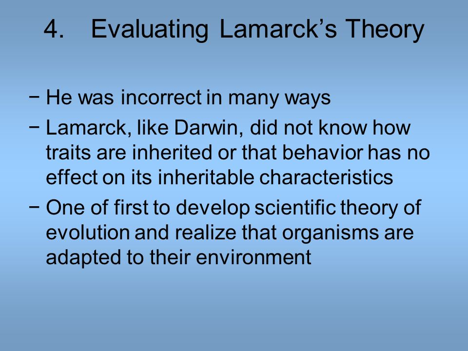 4. Evaluating Lamarck's Theory