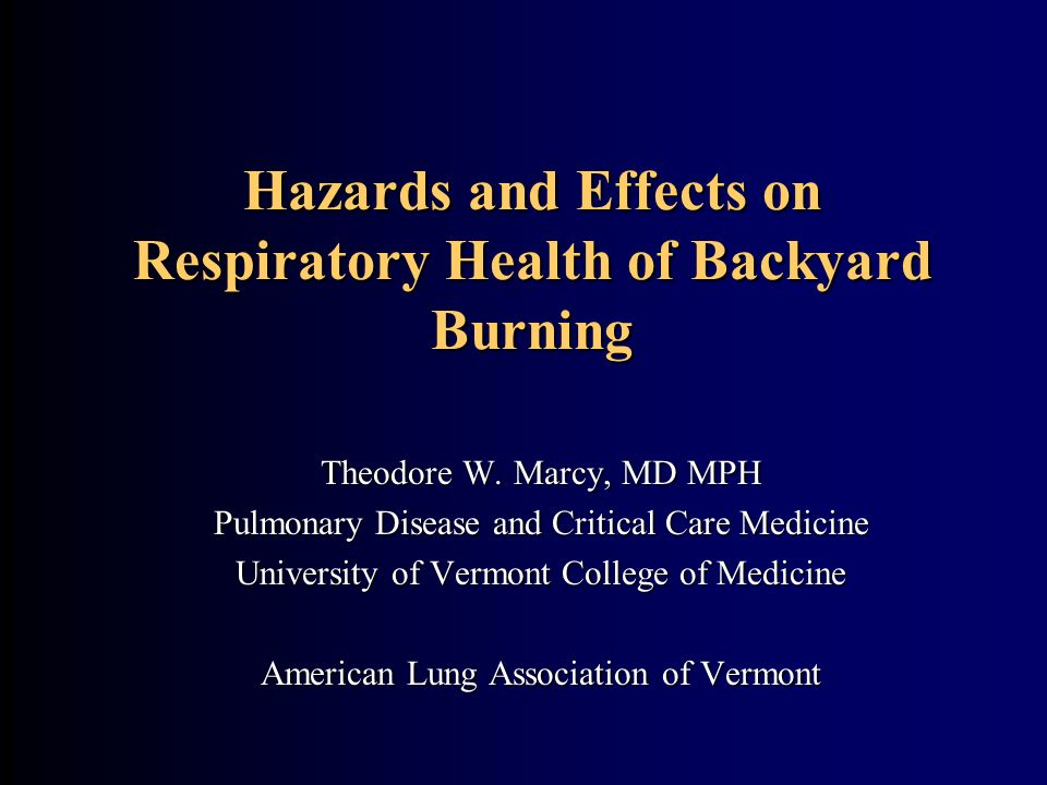Hazards and Effects on Respiratory Health of Backyard Burning