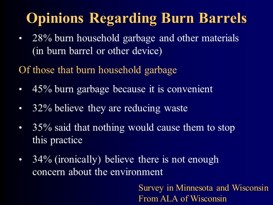 Opinions Regarding Burn Barrels