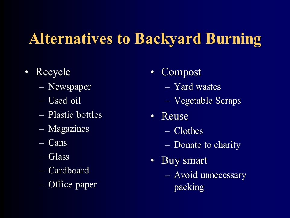 Alternatives to Backyard Burning
