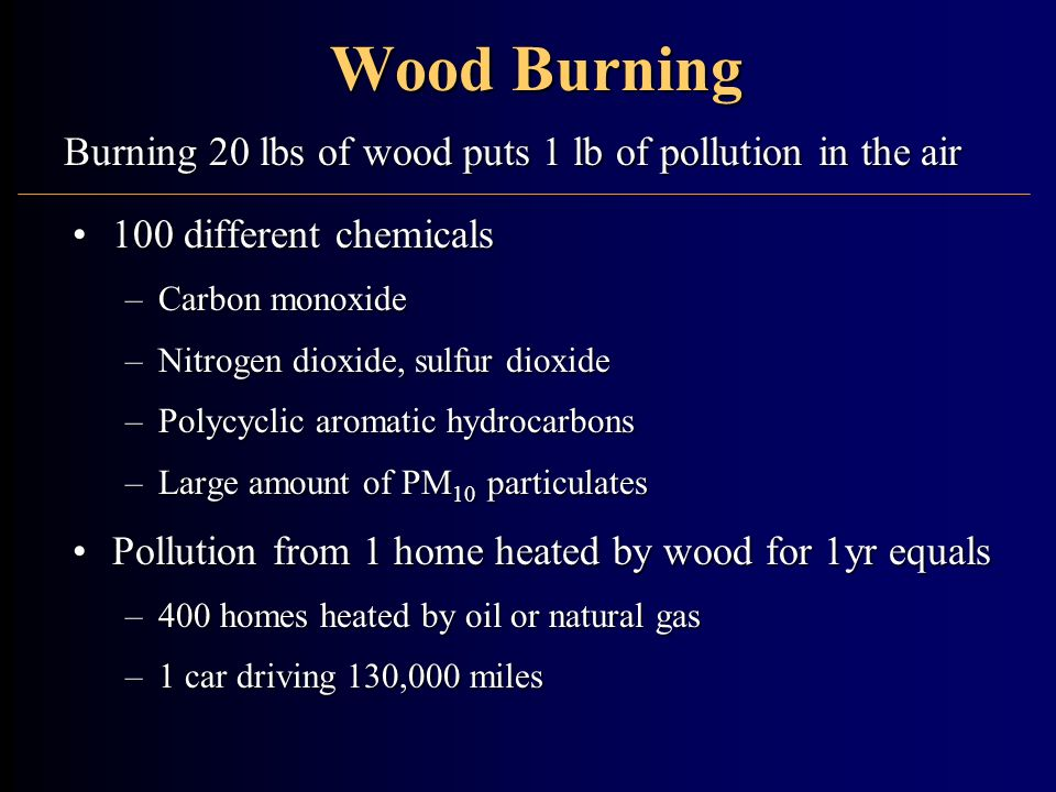 Wood Burning Burning 20 lbs of wood puts 1 lb of pollution in the air
