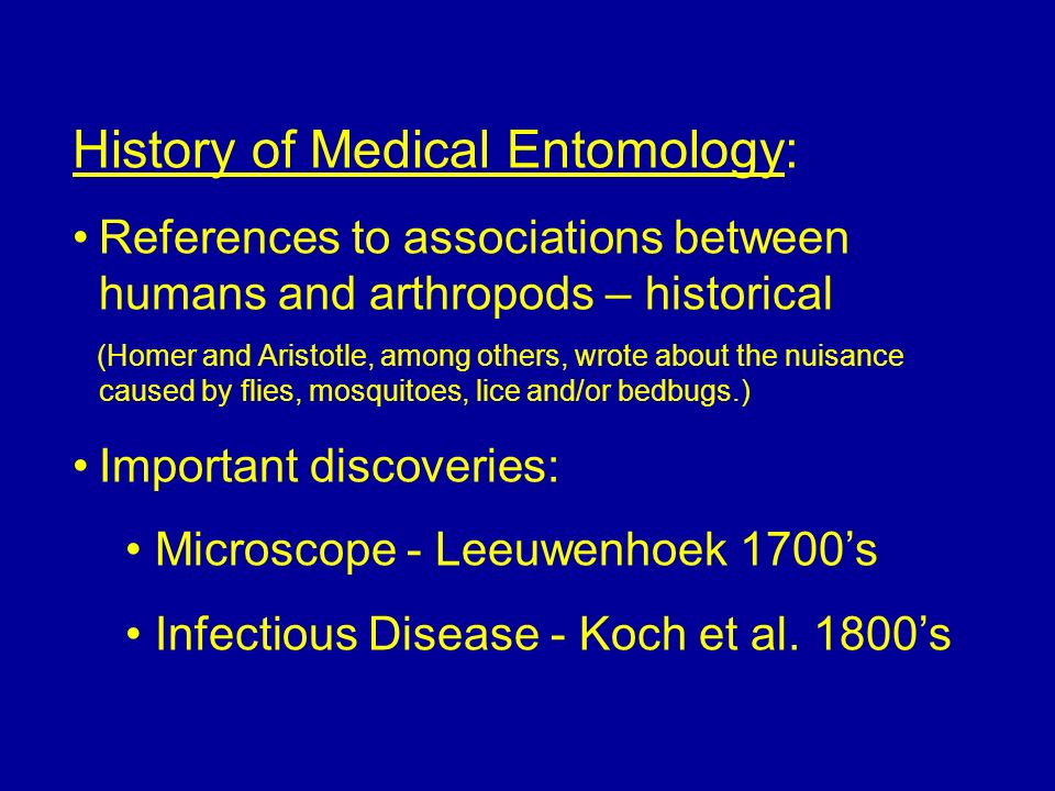 History of Medical Entomology:
