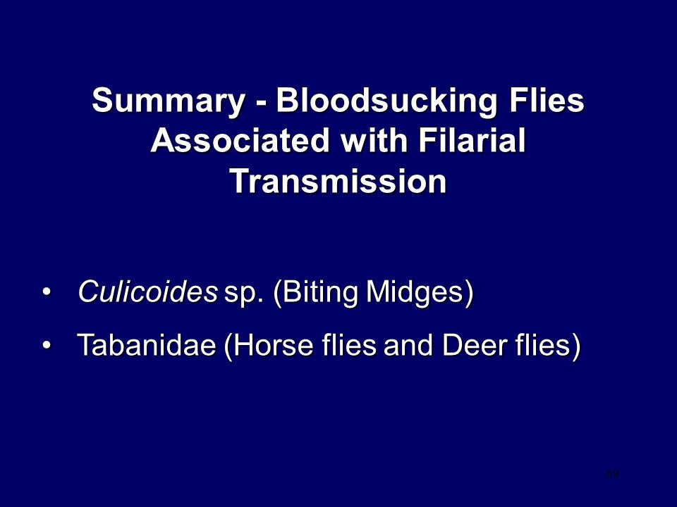 Summary - Bloodsucking Flies Associated with Filarial Transmission