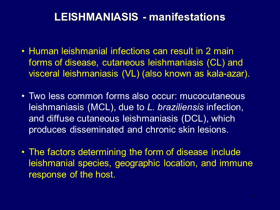 LEISHMANIASIS - manifestations