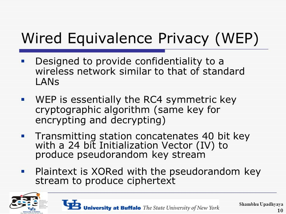 """the security of the wired equivalent privacy a security algorithm on wireless networks This protection, known as the wired equivalent privacy (wep) protocol, defines a set of most of the wireless networking users (especially home users), wep is the only choice available until new security mechanisms """"it is reasonably strong: the security afforded by the algorithm relies on the difficulty of discovering the."""