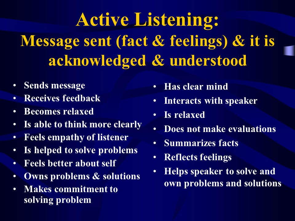 Active Listening: Message sent (fact & feelings) & it is acknowledged & understood