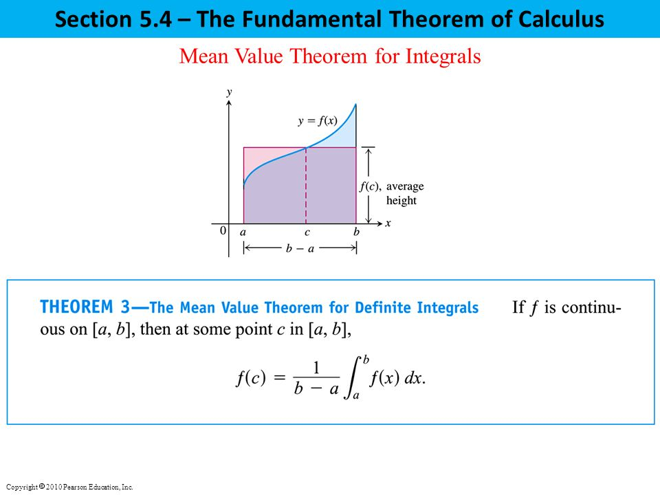 Section 5.4 – The Fundamental Theorem of Calculus