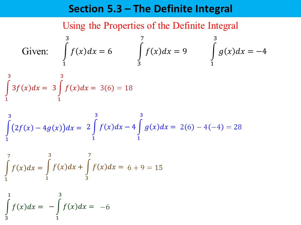Section 5.3 – The Definite Integral