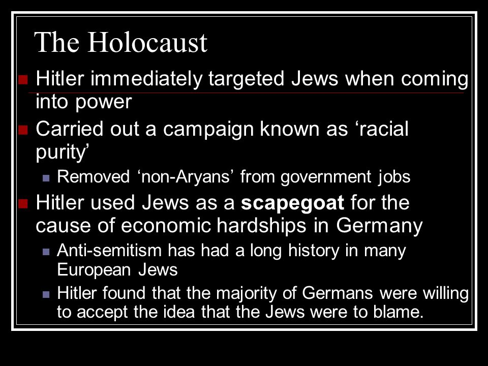 the holocaust targeted the jewish community essay Hitler s holocaust essay deemed inferior, were an alien threat to the so-called german racial community the holocaust was the effort of adolf hitler and the nazi party in germany to exterminate the jews and other the jewish holocaust has to be one of the largest.