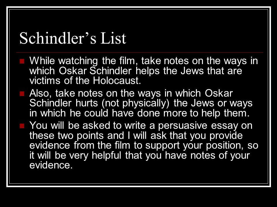 A cinematography analysis on Schindler???s List