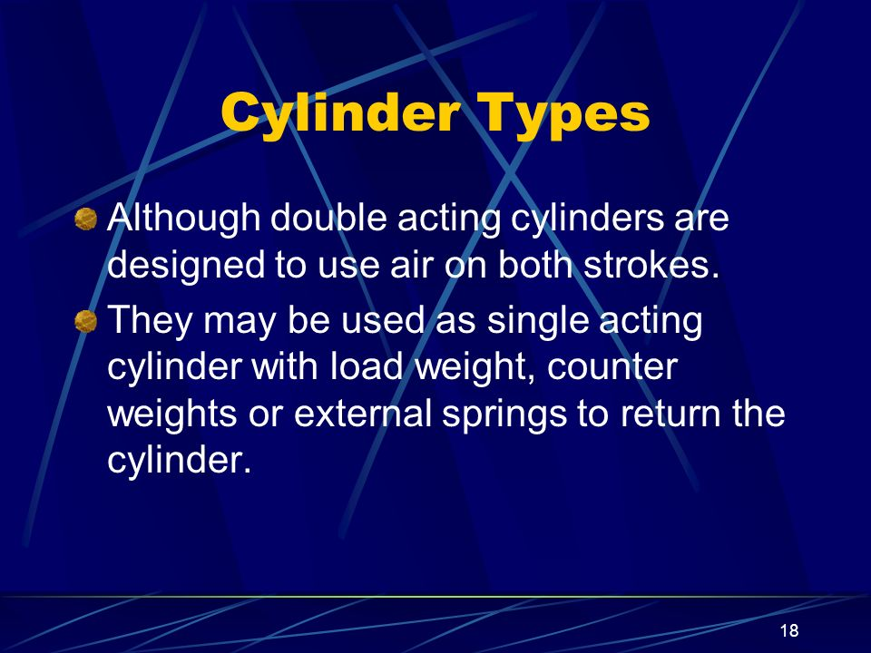 Cylinder Types Although double acting cylinders are designed to use air on both strokes.