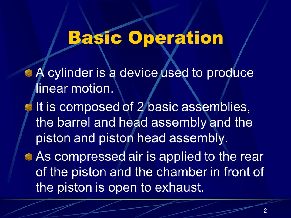 Basic Operation A cylinder is a device used to produce linear motion.