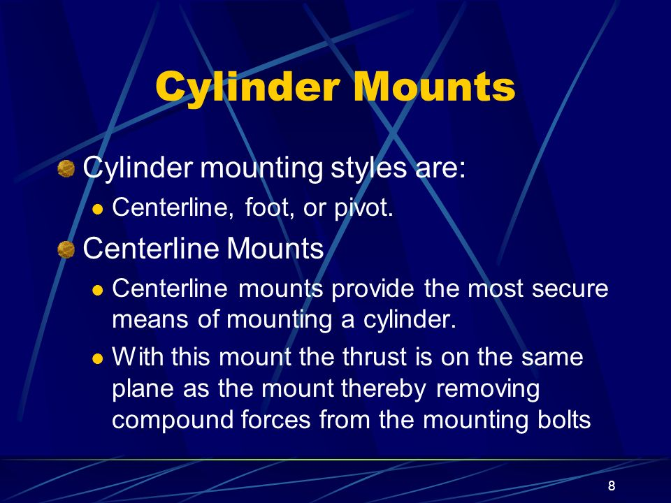 Cylinder Mounts Cylinder mounting styles are: Centerline Mounts