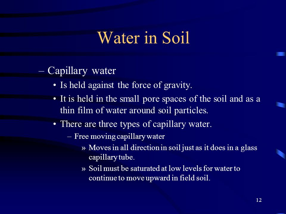 Water in Soil Capillary water Is held against the force of gravity.