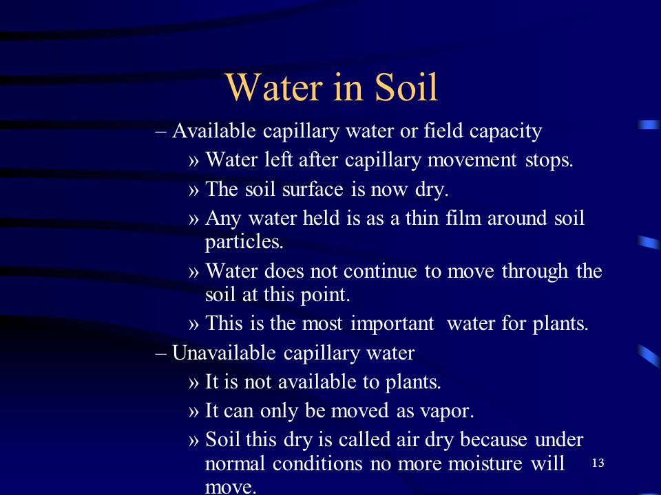 Water in Soil Available capillary water or field capacity