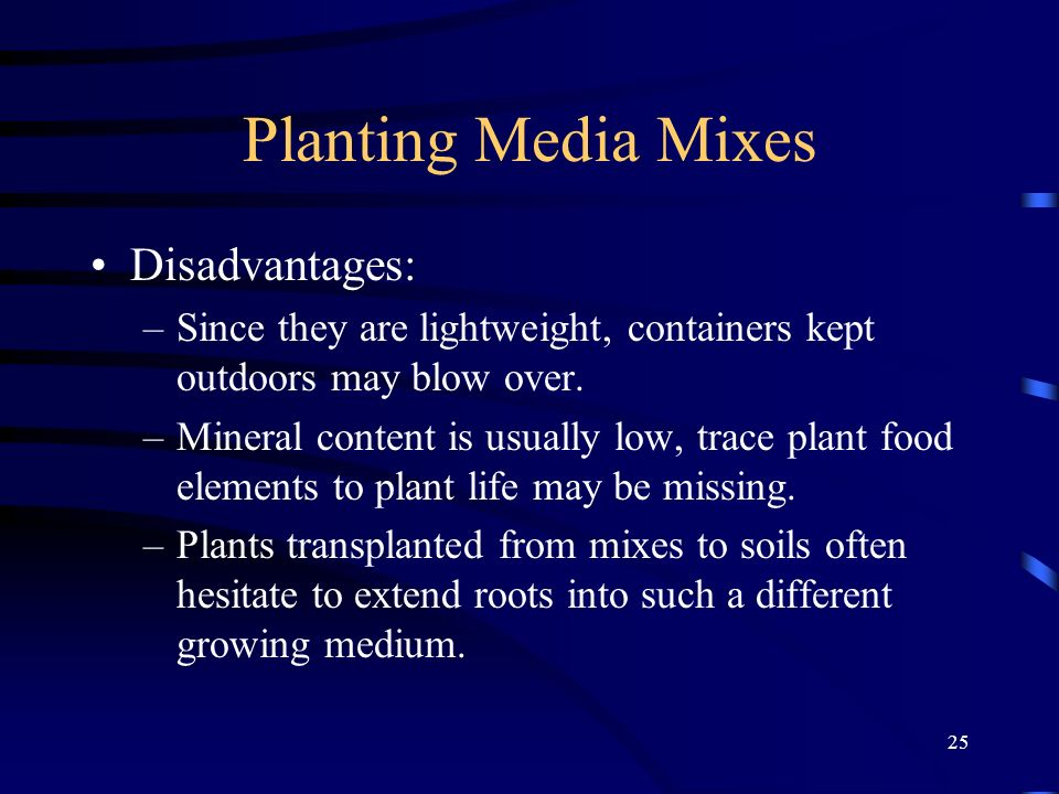 Planting Media Mixes Disadvantages: