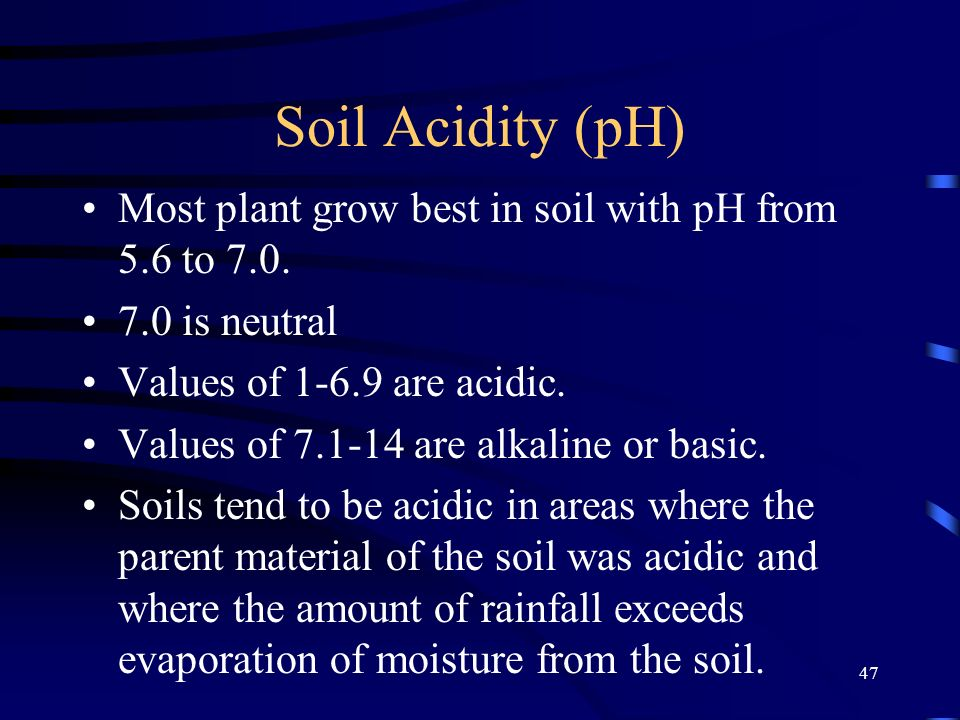 Soil Acidity (pH) Most plant grow best in soil with pH from 5.6 to 7.0. 7.0 is neutral. Values of 1-6.9 are acidic.