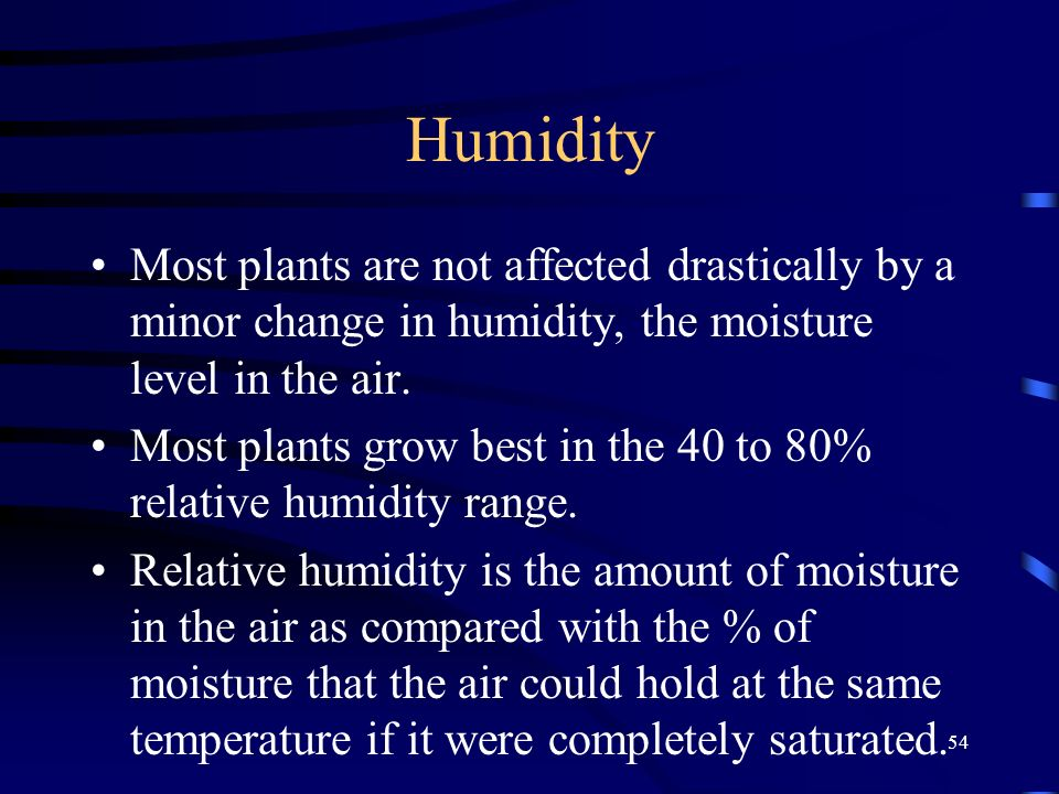 Humidity Most plants are not affected drastically by a minor change in humidity, the moisture level in the air.