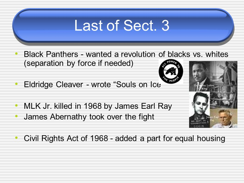 Last of Sect. 3 Black Panthers - wanted a revolution of blacks vs. whites (separation by force if needed)