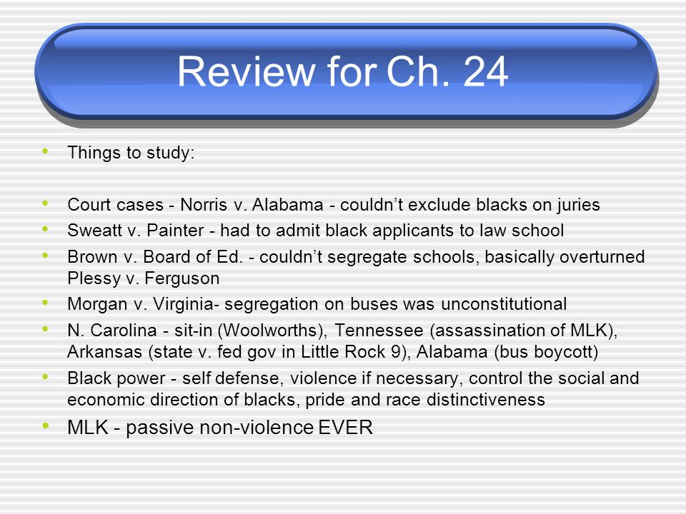 Review for Ch. 24 MLK - passive non-violence EVER Things to study: