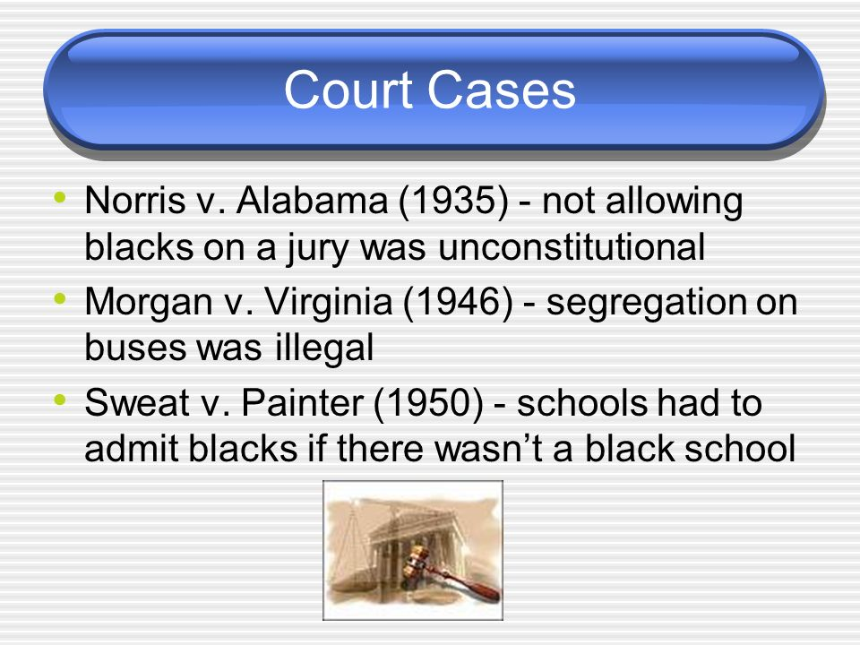 Court Cases Norris v. Alabama (1935) - not allowing blacks on a jury was unconstitutional.