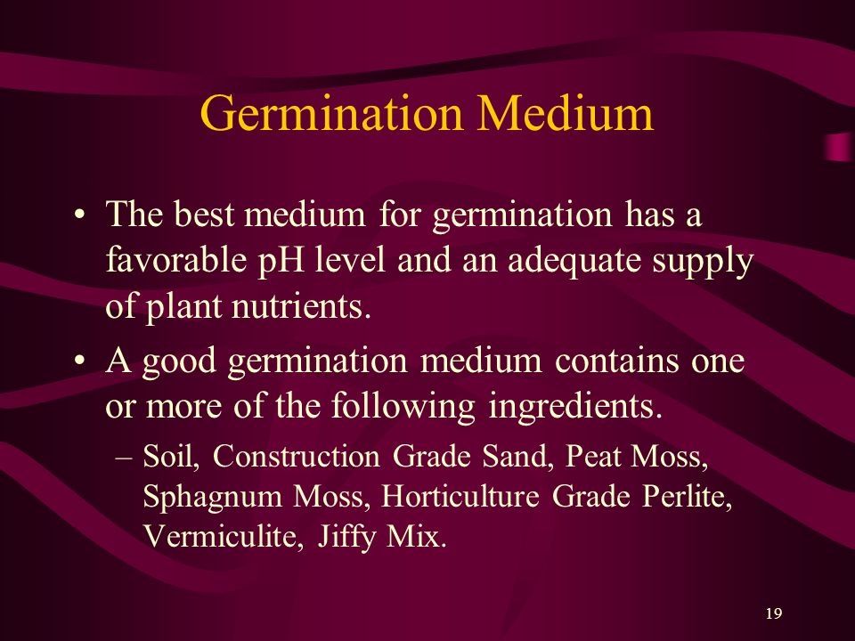Germination Medium The best medium for germination has a favorable pH level and an adequate supply of plant nutrients.