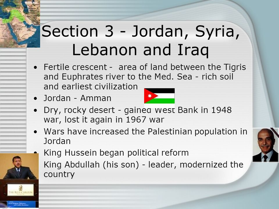 Section 3 - Jordan, Syria, Lebanon and Iraq