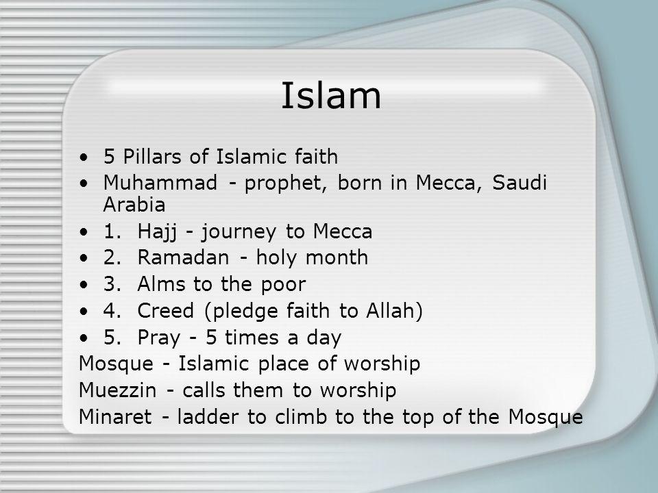 Islam 5 Pillars of Islamic faith