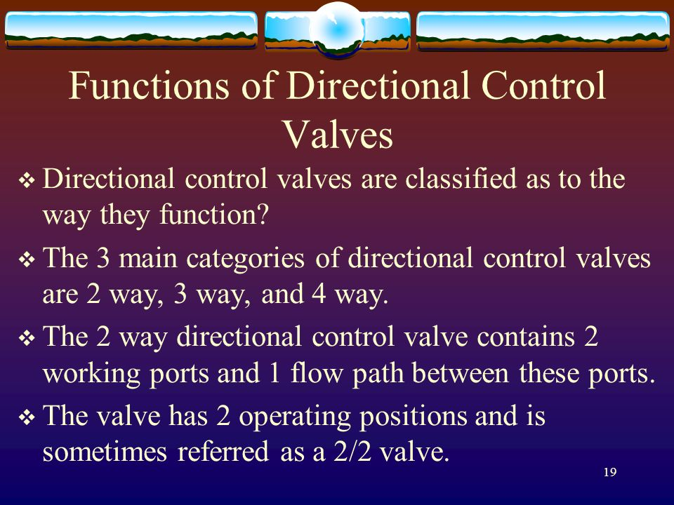 Functions of Directional Control Valves