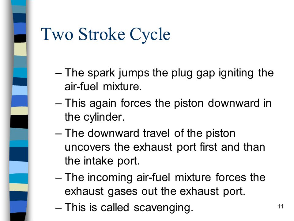 Two Stroke Cycle The spark jumps the plug gap igniting the air-fuel mixture. This again forces the piston downward in the cylinder.