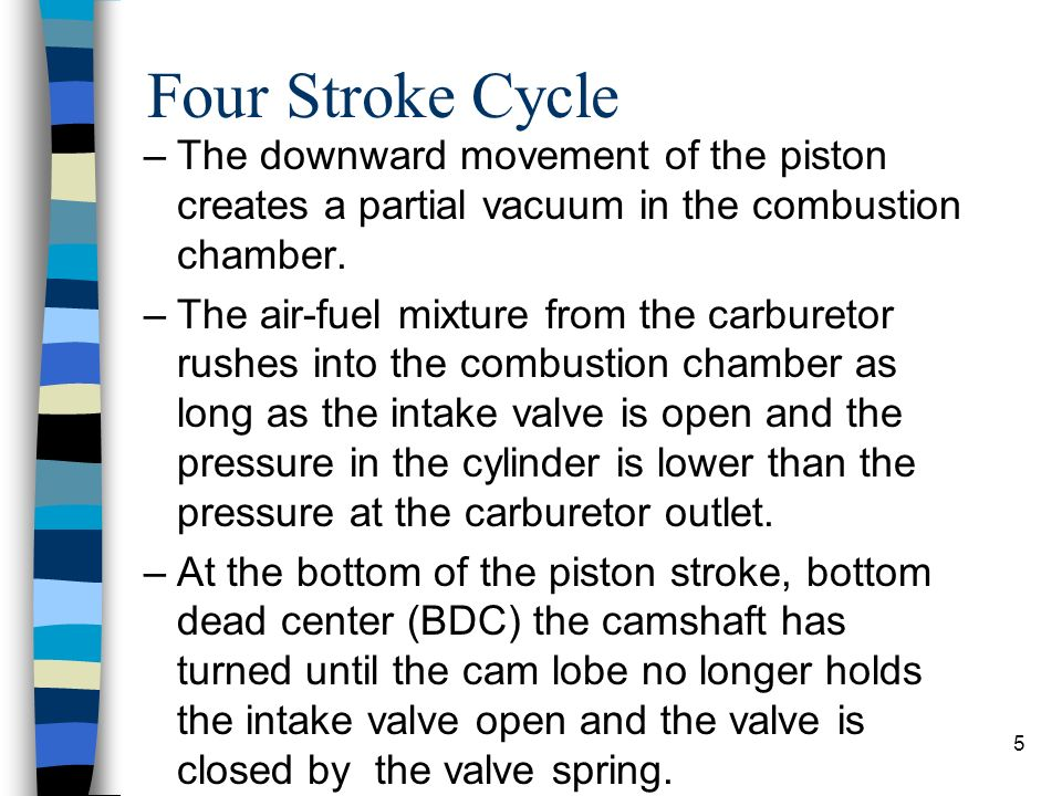 Four Stroke Cycle The downward movement of the piston creates a partial vacuum in the combustion chamber.