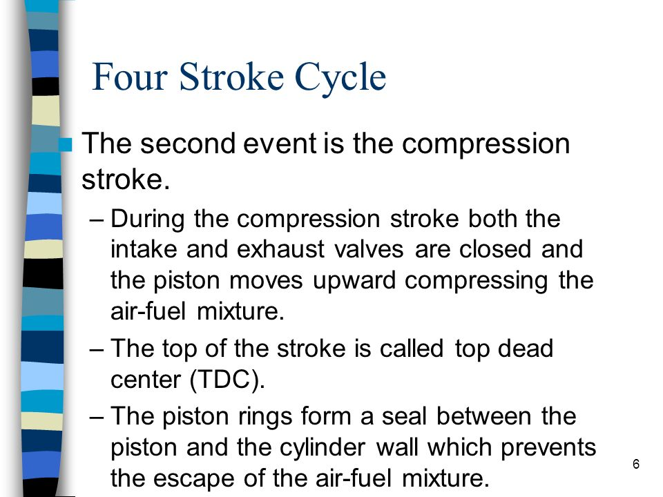 Four Stroke Cycle The second event is the compression stroke.