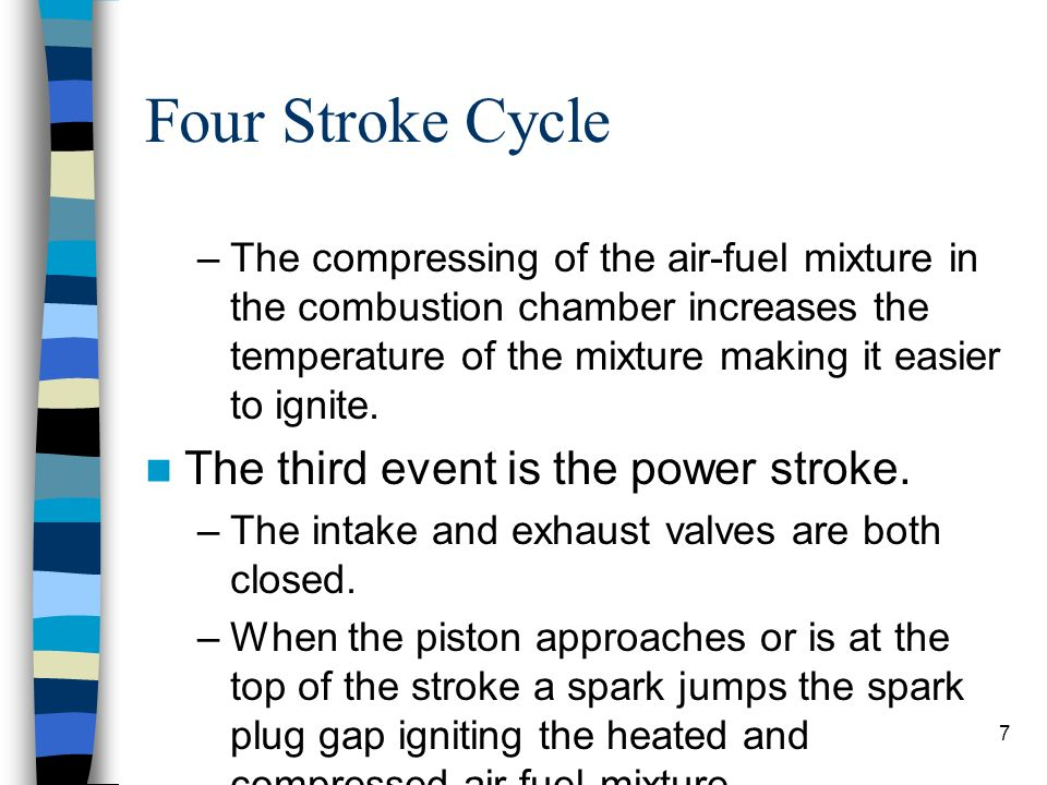 Four Stroke Cycle The third event is the power stroke.