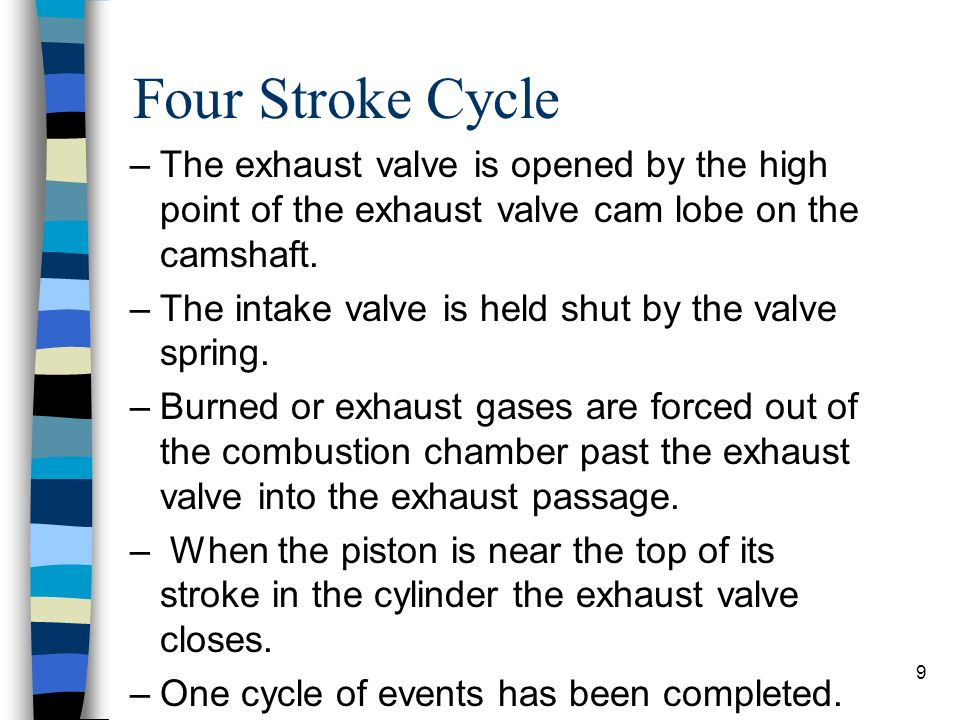 Four Stroke Cycle The exhaust valve is opened by the high point of the exhaust valve cam lobe on the camshaft.