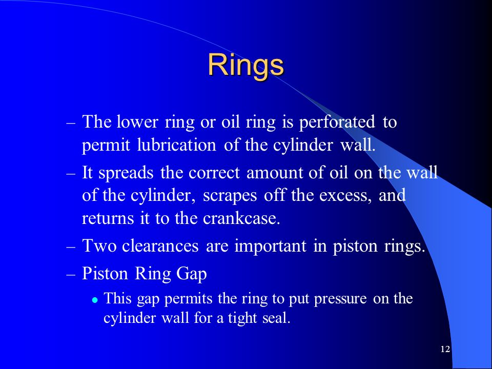RingsThe lower ring or oil ring is perforated to permit lubrication of the cylinder wall.